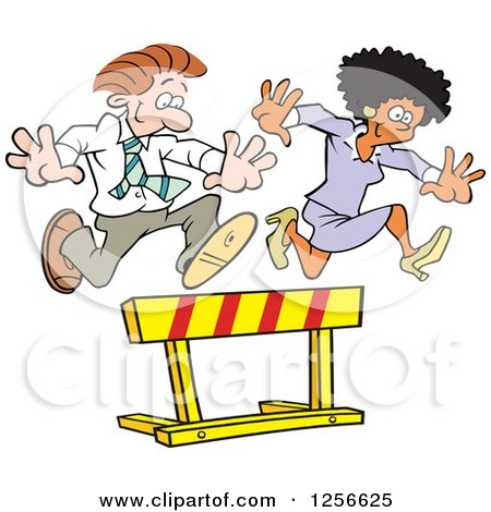 Clipart of a Happy Black Businesswoman and White Businessman Leaping over a Hurdle Obstacle - Royalty Free Vector Illustration by Johnny Sajem