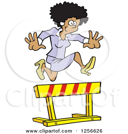 Clipart of a Happy Black Businesswoman Leaping over a Hurdle Obstacle - Royalty Free Vector Illustration by Johnny Sajem