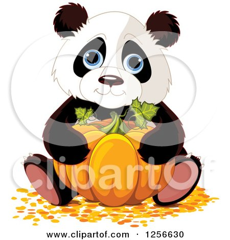 Clipart of a Cute Halloween Panda Hugging a Pumpkin - Royalty Free Vector Illustration by Pushkin