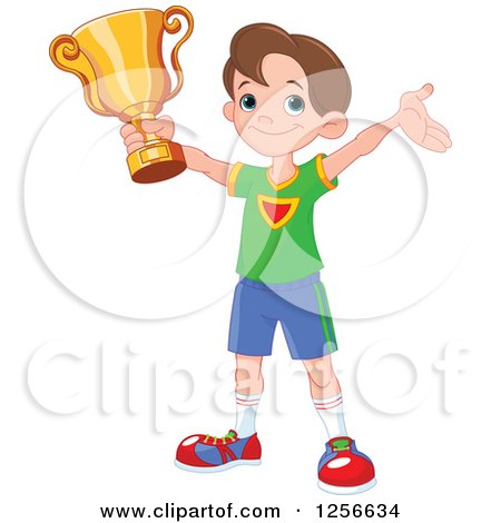 Clipart of a Happy Caucasian Boy Holding up a Sports Championship Trophy - Royalty Free Vector Illustration by Pushkin