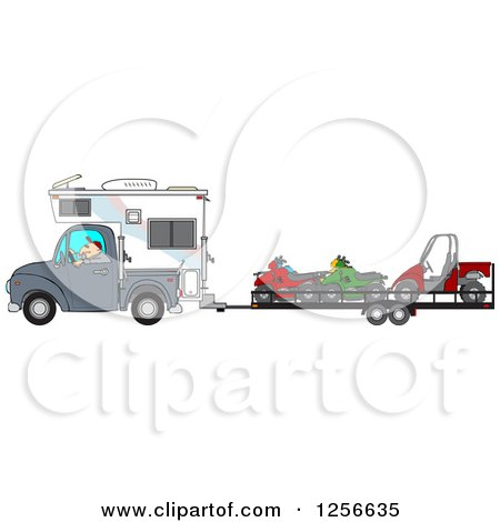 Clipart of a Caucasian Man Driving a Truck and Camper and Towing Atvs and a Utv - Royalty Free Vector Illustration by djart
