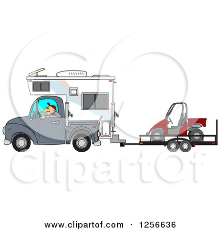 Clipart of a Caucasian Man Driving a Truck and Camper and Towing a Utv - Royalty Free Vector Illustration by djart