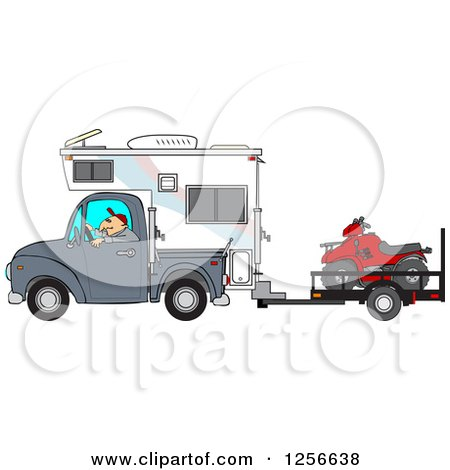 Clipart of a Caucasian Man Driving a Truck and Camper and Towing an Atv - Royalty Free Vector Illustration by djart
