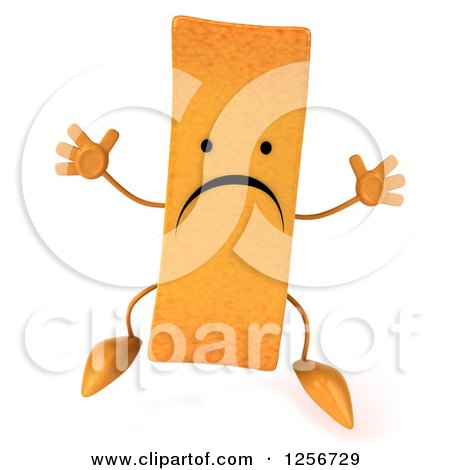 Clipart of a 3d Sad French Fry Character Jumping - Royalty Free Illustration by Julos