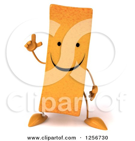 Clipart of a 3d Happy French Fry Character with an Idea - Royalty Free Illustration by Julos
