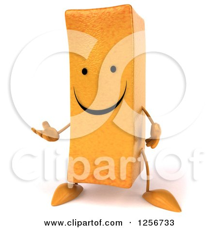 Clipart of a 3d Happy French Fry Character Presenting - Royalty Free Illustration by Julos