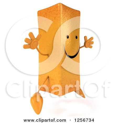 Clipart of a 3d Happy French Fry Character Jumping - Royalty Free Illustration by Julos