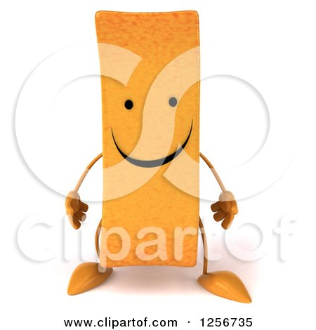 Clipart of a 3d Happy French Fry Character - Royalty Free Illustration by Julos