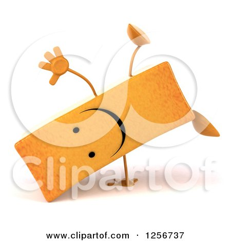 Clipart of a 3d Happy French Fry Character Cartwheeling - Royalty Free Illustration by Julos