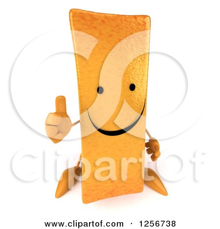Clipart of a 3d Happy French Fry Character Holding a Thumb up - Royalty Free Illustration by Julos