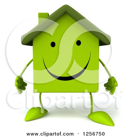 Clipart of a 3d Green Home Character - Royalty Free Illustration by Julos