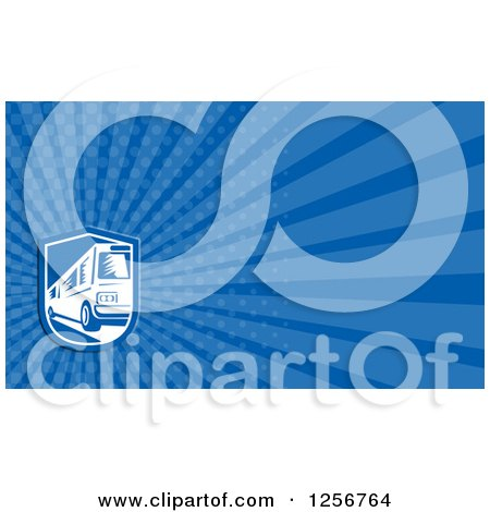 Clipart of a Woodcut Bus Business Card Design - Royalty Free Illustration by patrimonio