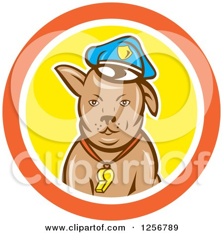Clipart of a Cartoon Police Dog in an Orange White and Yellow Circle - Royalty Free Vector Illustration by patrimonio