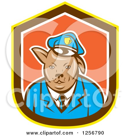 Clipart of a Cartoon Police Dog in a Yellow Brown White and Orange Shield - Royalty Free Vector Illustration by patrimonio