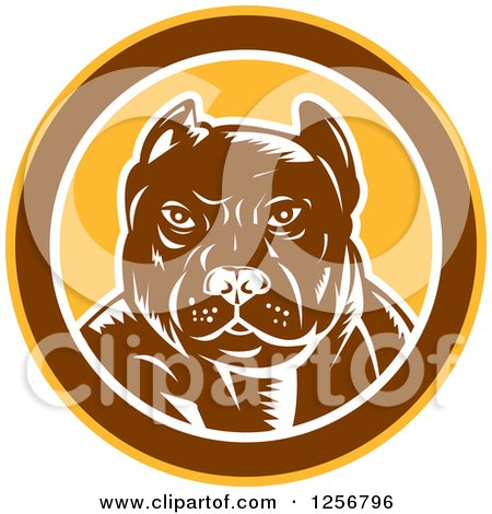 Clipart of a Retro Woodcut Tough Pitbull Guard Dog in a Yellow Brown and White Circle - Royalty Free Vector Illustration by patrimonio