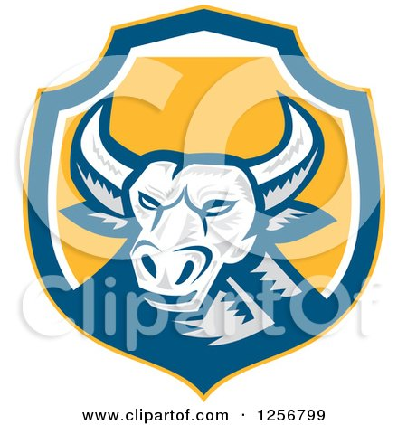 Clipart of a Retro Woodcut Longhorn Steer Bull in a Blue White and Yellow Shield - Royalty Free Vector Illustration by patrimonio