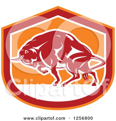 Clipart Of A Retro Woodcut Charging Angry Bison In A Red White And Orange Shield Royalty Free Vector Illustration