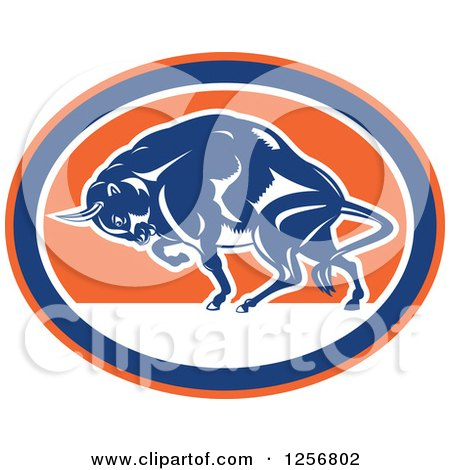 Clipart of a Retro Woodcut Charging Angry Bison in a Blue Orange and White Oval - Royalty Free Vector Illustration by patrimonio