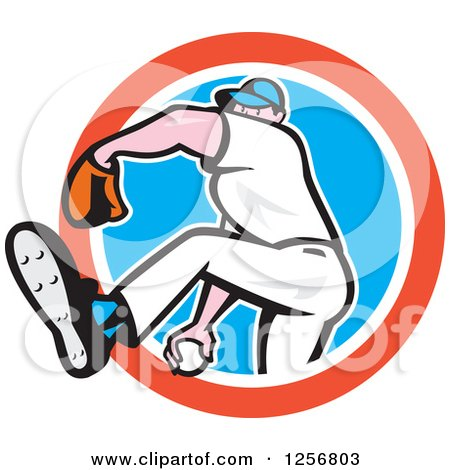 Clipart of a Cartoon Male Baseball Player Pitching in a Red White and Blue Circle - Royalty Free Vector Illustration by patrimonio