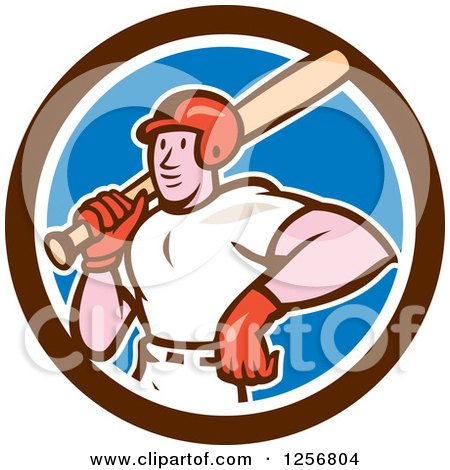 Clipart of a Cartoon Male Baseball Player with a Bat in a Blue White and Brown Circle - Royalty Free Vector Illustration by patrimonio