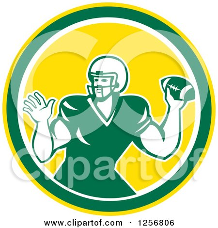 Clipart Of A Retro Green American Football Player Throwing In A Yellow Circle Royalty Free Vector Illustration