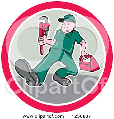 Clipart of a Cartoon Male Plumber Carrying a Monkey Wrench and Tool Box in a Pink White and Tan Circle - Royalty Free Vector Illustration by patrimonio