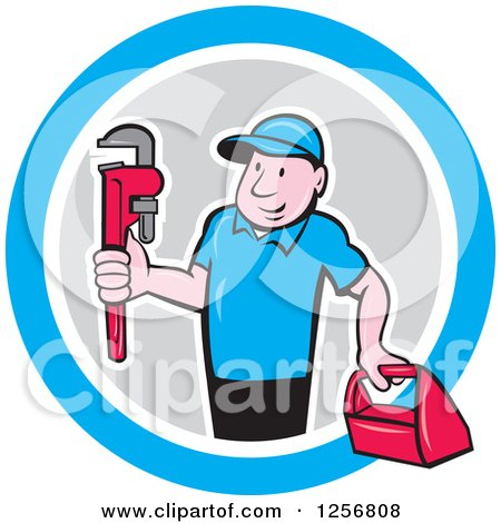 Clipart of a Cartoon Male Plumber Carrying a Monkey Wrench and Tool Box in a Blue White and Gray Circle - Royalty Free Vector Illustration by patrimonio