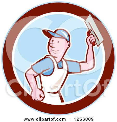Clipart of a Cartoon Male Mason Plasterer Worker Holding a Trowel in a Blue White and Maroon Circle - Royalty Free Vector Illustration by patrimonio