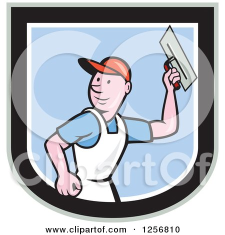 Clipart Of A Cartoon Male Mason Plasterer Worker Holding A Trowel In A Shield Royalty Free Vector Illustration