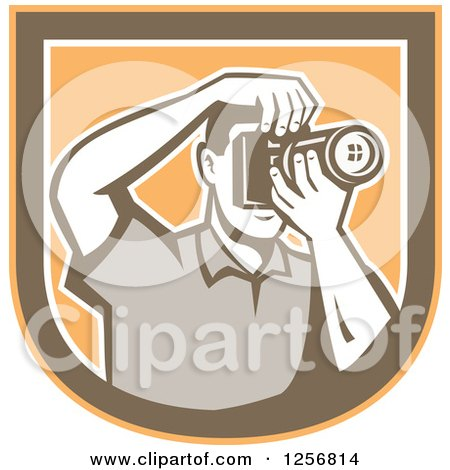 Clipart of a Retro Male Photographer Taking Pictures in an Orange Brown and White Shield - Royalty Free Vector Illustration by patrimonio