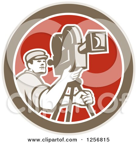 Clipart of a Retro Cameraman Filming in a Brown White and Red Circle - Royalty Free Vector Illustration by patrimonio