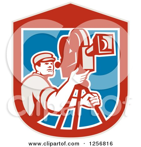 Clipart of a Retro Cameraman Filming in a Red Blue and White Shield - Royalty Free Vector Illustration by patrimonio