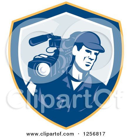 Clipart of a Retro Cameraman Filming in a Yellow Blue and White Shield - Royalty Free Vector Illustration by patrimonio