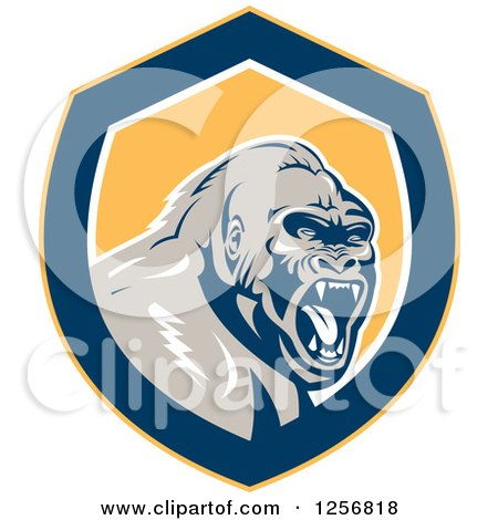 Clipart of a Retro Angry Gorilla Screaming in a Yellow White and Blue Shield - Royalty Free Vector Illustration by patrimonio
