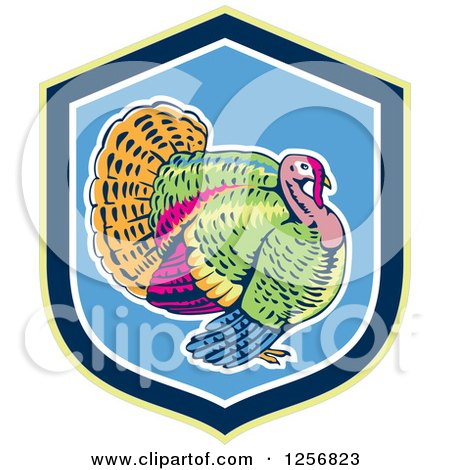 Clipart of a Colorful Turkey Bird in a Green Blue and White Shield - Royalty Free Vector Illustration by patrimonio