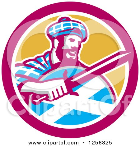 Clipart of a Retro Scottish Highlander in a Tartan with a Sword and Shield in a Pink and Yellow Circle - Royalty Free Vector Illustration by patrimonio