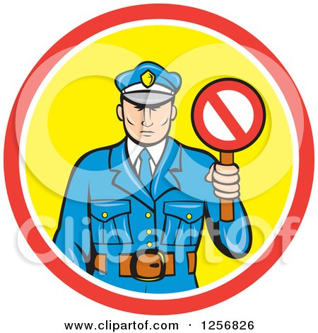 Clipart of a Cartoon Police Man Holding a Stop Sign in a Red White and Yellow Circle - Royalty Free Vector Illustration by patrimonio