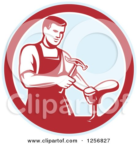 Clipart of a Retro Shoemaker Cobbler Working in a Red and Blue Circle - Royalty Free Vector Illustration by patrimonio