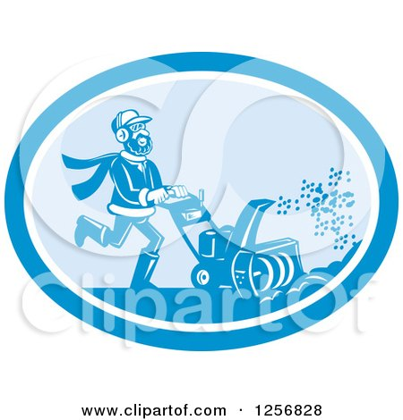 Clipart of a Happy Man Operating a Snow Blower in a Blue Oval - Royalty Free Vector Illustration by patrimonio