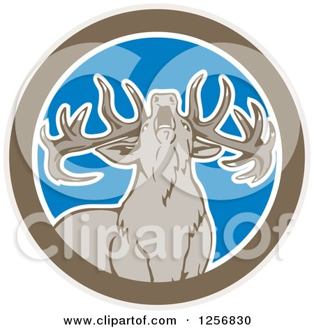 Clipart of a Howling Buck Deer in a Brown White and Blue Circle - Royalty Free Vector Illustration by patrimonio