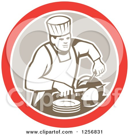 Clipart of a Retro Male Chef Carving Meat in a Red White and Tan Circle - Royalty Free Vector Illustration by patrimonio