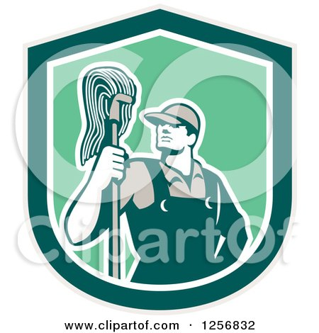 Clipart of a Retro Male Janitor with a Mop in a Green Shield - Royalty Free Vector Illustration by patrimonio