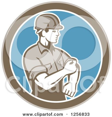 Clipart of a Retro Male Construction Worker Rolling up His Sleeve in a Brown White and Blue Circle - Royalty Free Vector Illustration by patrimonio