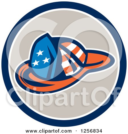 Clipart of a Retro American Flag Patterned Fireman Hat in a Blue White and Tan Circle - Royalty Free Vector Illustration by patrimonio