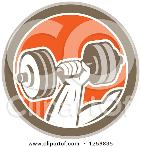 Clipart of a Retro Bodybuilder's Hand Lifting a Dumbbell in a Brown White and Orange Circle - Royalty Free Vector Illustration by patrimonio