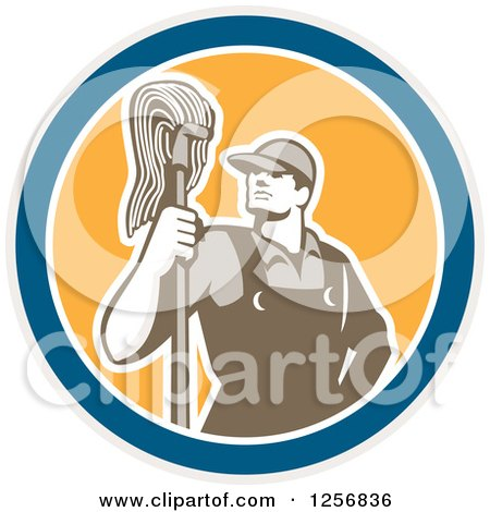 Clipart of a Retro Male Janitor with a Mop in a Blue White and Yellow Circle - Royalty Free Vector Illustration by patrimonio