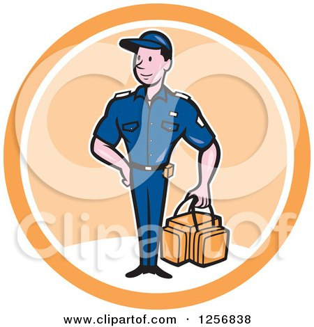Clipart of a Happy Paramedic Man with a First Aid Kit in a White and Orange Circle - Royalty Free Vector Illustration by patrimonio