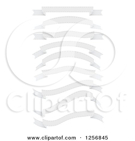 Clipart of a Retro White Ribbon Banners - Royalty Free Vector Illustration by vectorace