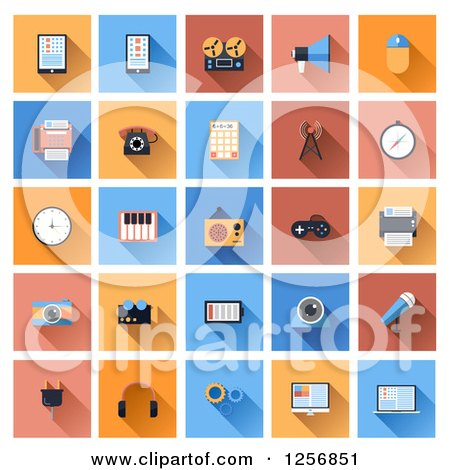 Clipart of Computer and Gadget Icons - Royalty Free Vector Illustration by vectorace