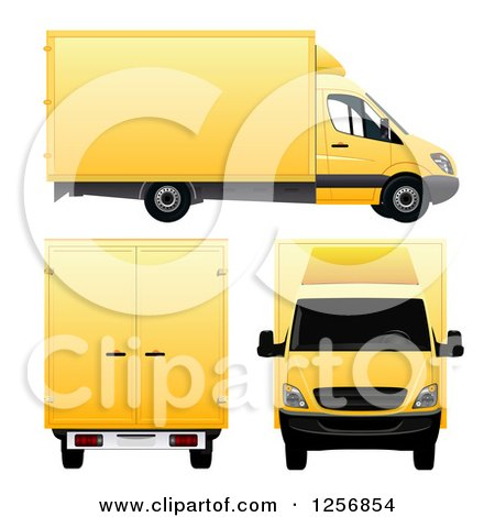 Clipart of 3d Yellow Moving Vans - Royalty Free Vector Illustration by vectorace